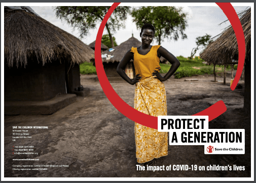 """""""Save The Children"""" edited photo- young woman wearing bright yellow dress, posing with hands on hips."""