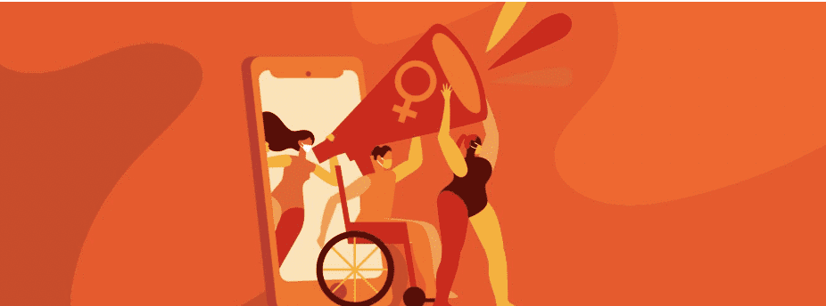 Abstract orange illustration symbol for the UN's International Elimination of Violence Against Women
