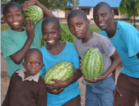 Five young boys posing together, carrying 3 watermelons.