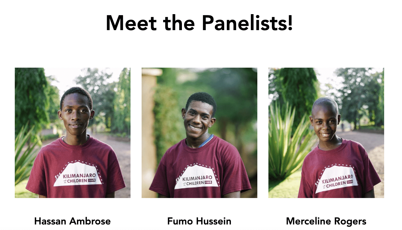 Three separate photos linked together of young Kenyan boys wearing matching maroon shirts