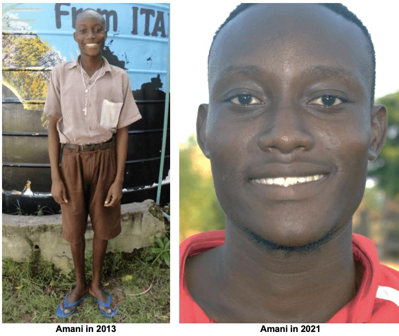 A glimpse at Kenyan teen, Amani Patrick, in 2013 versus 2021
